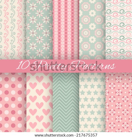 10 Pretty pastel vector seamless patterns. Endless texture can be used for wallpaper, fill, web background, texture. Set of abstract cute ornaments. Blue, pink, white colors. - stock vector