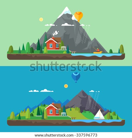 Preview Stock Vector Illustration: Vector flat illustration - House at the lake. House in the mountains. Wild nature. Ecotourism - stock vector