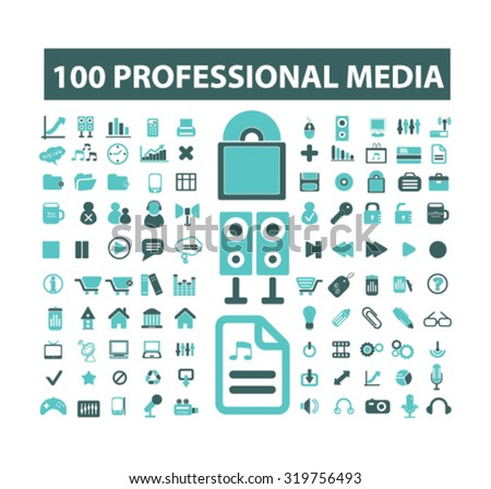 100 professional media icons - stock vector