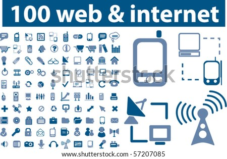 100 professional web & internet signs. vector - stock vector