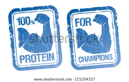 100 % Protein, For Champions stamps set. - stock vector