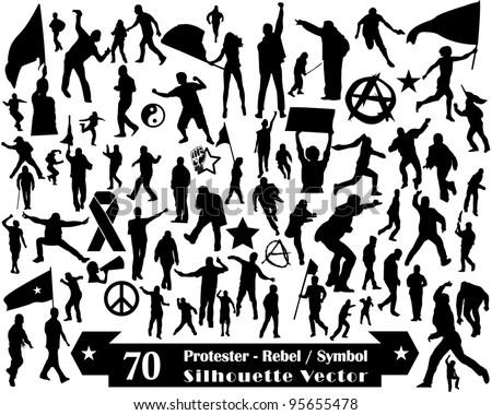 70 Protester Rebel Symbol and Silhouette Vector Design - stock vector