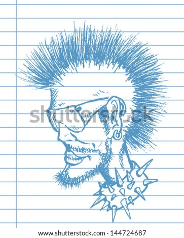 punk and rock drawing - stock vector