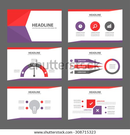 ?purple and red multipurpose presentation infographic element symbol icon template flat design set for advertising marketing brochure flyer  - stock vector