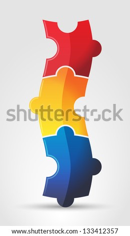 3 puzzle 4 - stock vector