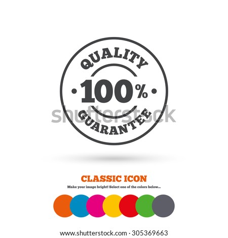 100% quality guarantee sign icon. Premium quality symbol. Classic flat icon. Colored circles. Vector - stock vector