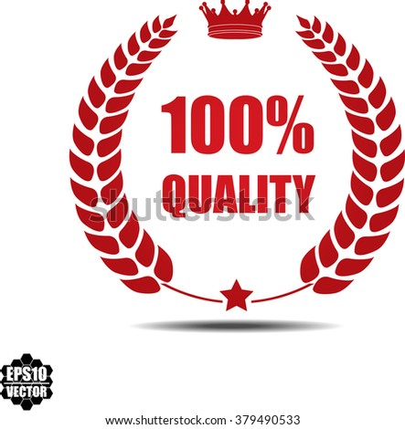100% quality, Label, Sticker or Icon Isolated on White Background.Vector - stock vector