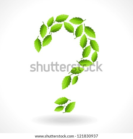 question mark making of green leaf - stock vector