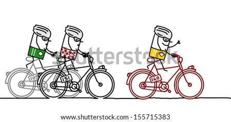 3 racing cyclists - stock vector