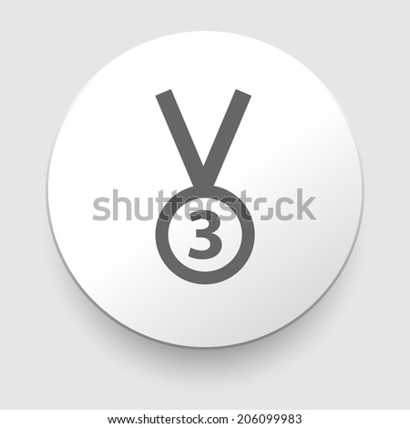 3rd Position Medal Icon - vector illustration. Flat design element - stock vector