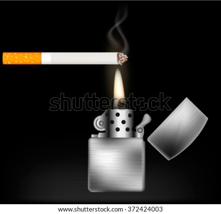 Realistic burning cigarette with  open silver lighter on black background - stock vector
