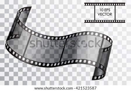 Realistic 3D film. Curved film. Isolated object on a transparent background. Vector illustration. - stock vector