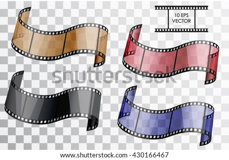 Realistic 3D film. Curved film. Isolated object on a transparent background. Vector illustration.  A set of a film in different colors blue, red, brown, black. - stock vector
