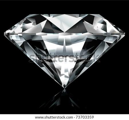 Realistic diamond illustration on black background - vector, no gradient mesh - stock vector