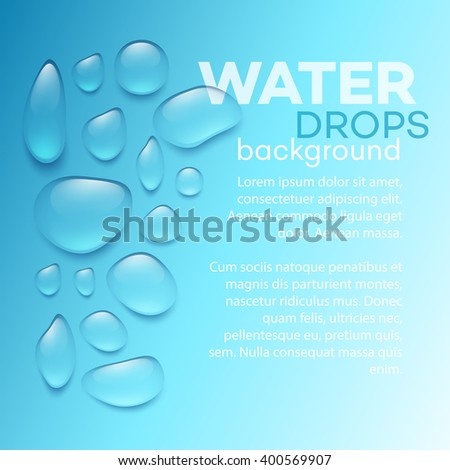 Realistic transparent Water drops - stock vector