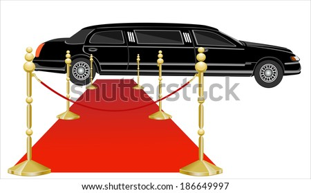 Red Carpet Extending to a Parked Limousine - stock vector
