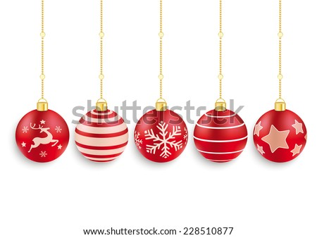 5 red christmas baubles on the red background. Eps 10 vector file. - stock vector