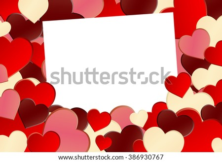 Red Heart Shape Background - stock vector