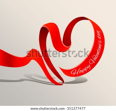 Red ribbon banner for Valentine's day. Vector illustration. Heart - stock vector