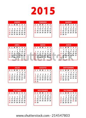2015 red spanish calendar. Weeks starting from sundays. Vector illustration. - stock vector