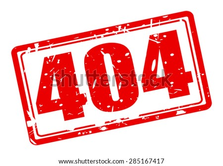 404 red stamp text on white - stock vector