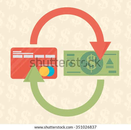 Ã?Â??redit card and cash. Payment methods, cash-out, smart investment, business, cash withdrawal, business, online payment concepts. Flat design. - stock vector