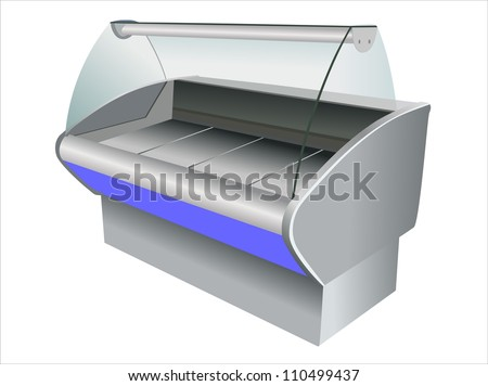 refrigerator on white background - stock vector