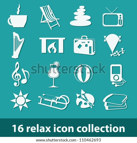 16 relax icon collection - stock vector
