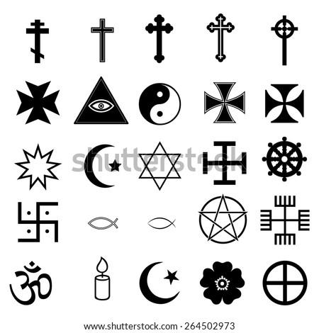 25 Religious Icons - stock vector