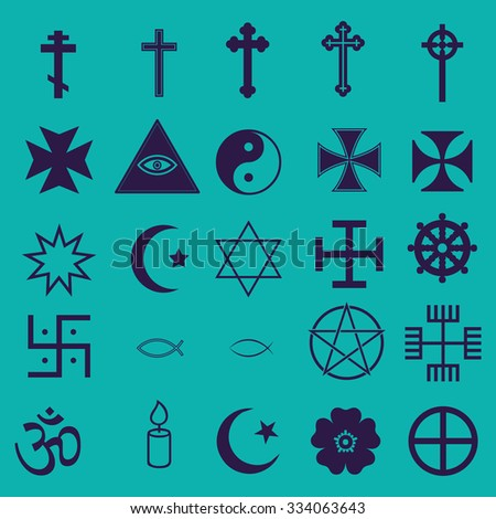 25 Religious Icons Set - stock vector