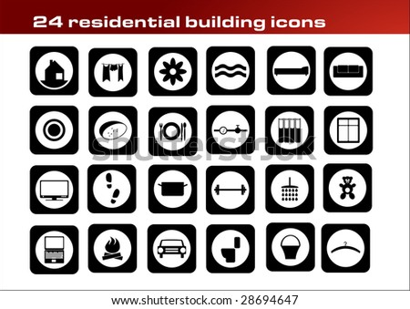 24 residential buildings icons - stock vector