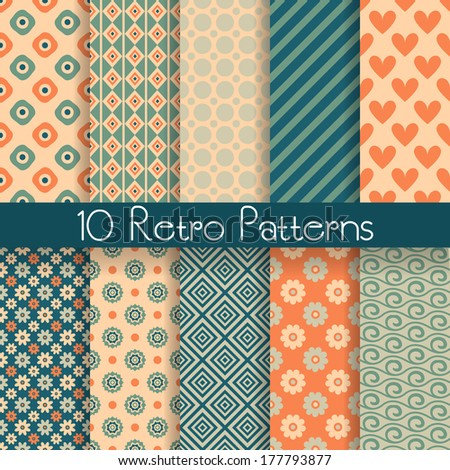 10 Retro abstract vector seamless patterns (tiling, with swatch). Endless texture can be used for wallpaper, fill, web background, texture. Set of monochrome geometric ornaments. Vintage colors. - stock vector