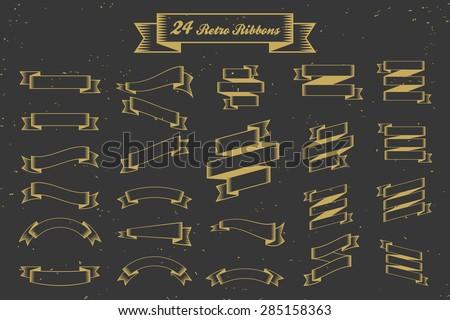 24 Retro ribbons banner elements, straight ribbons, curve ribbons, twist ribbons decoration sets, Vintage ribbons element || Vector illustration - stock vector