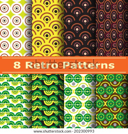 8 retro seamless patterns can be used for fashion textile, cloth, scrap booking and background,  pattern swatches included, Vector EPS 10.  - stock vector