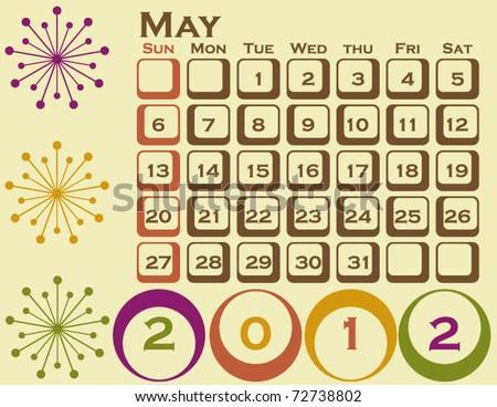 2012 Retro Style Calendar Set 1 May - stock vector
