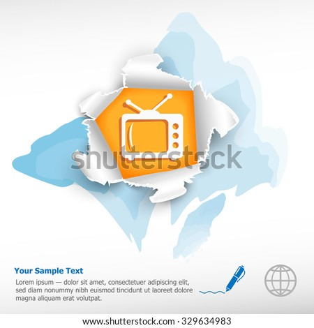 Retro tv and breakthrough paper hole with ragged edges on watercolor background - stock vector