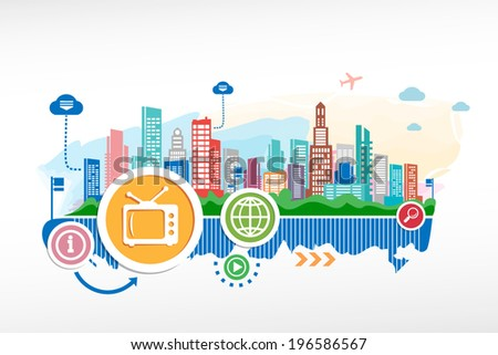 Retro tv and cityscape background with different icon and elements. Design for the print, advertising. - stock vector