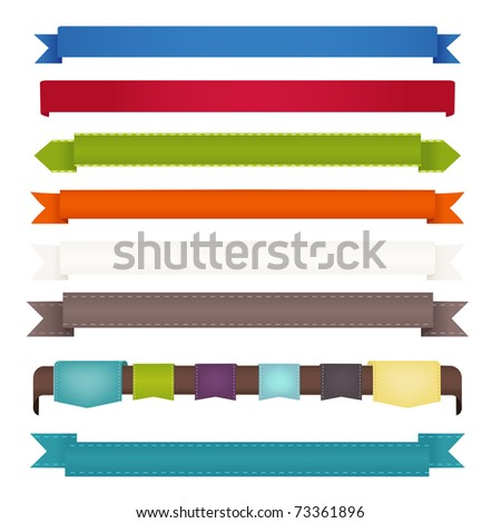 8 Ribbons, Isolated On White Background, Vector Illustration - stock vector