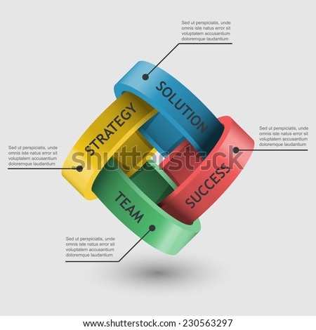 4 rings concatenated together, 3d vector symbol infographics - stock vector