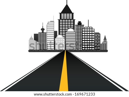 road leads to city vector background  - stock vector