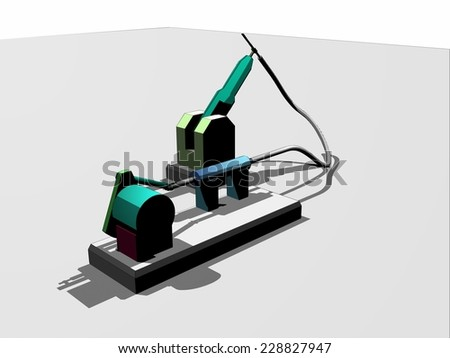 Robotic vector arm at production line in factory - stock vector