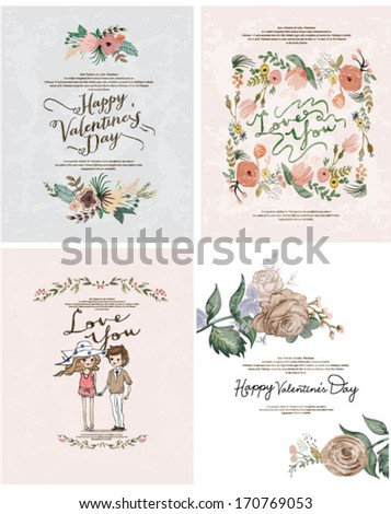 Romantic cartoon invitation valentine card flowers - stock vector