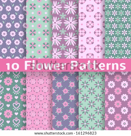 10 Romantic flower different vector patterns (tiling). Pink, green and blue colors. Endless texture can be used for printing onto fabric and paper or scrap booking. Floral shapes. - stock vector
