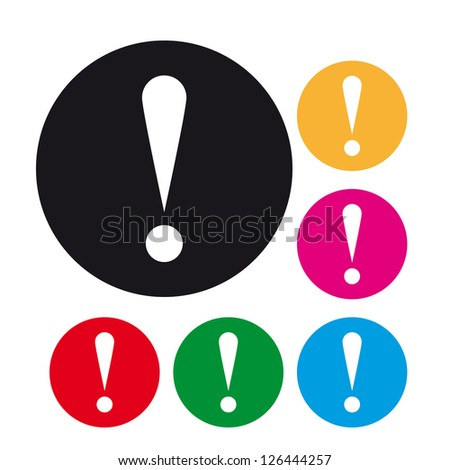 Rounded warning attention sign - stock vector