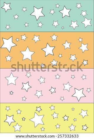 4 row of stars. Different sizes of stars placed randomly. There are light blue, orange, pink and yellow colors in the rows. All stars are white. Some stars with wider strokes.  - stock vector
