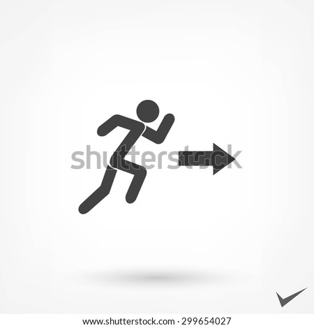 running man figure and direction arrow icon - stock vector