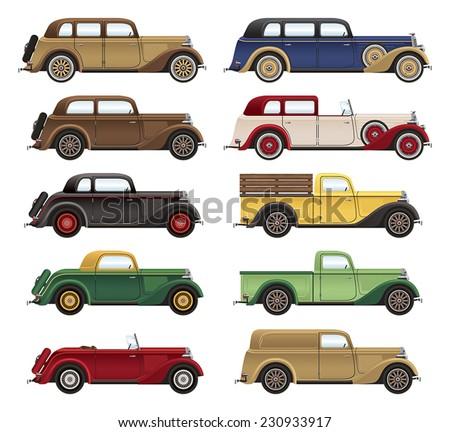 1930s Car Lineup - stock vector