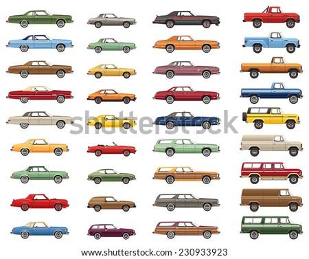 1970s Car Lineup - stock vector