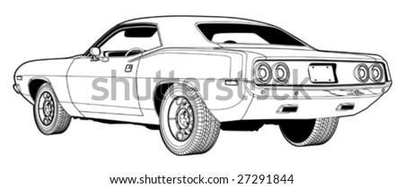 1970's Muscle Car Line Art