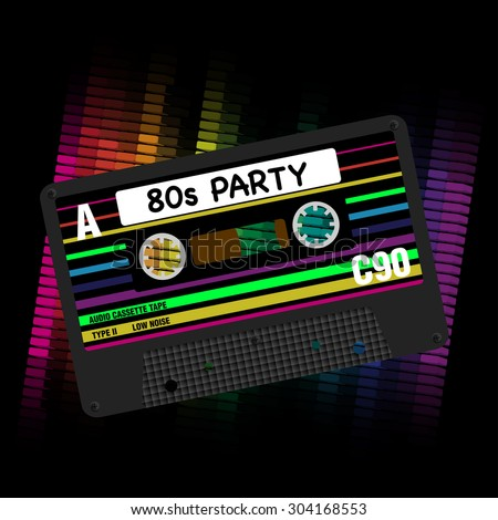 80s Party Background - Eighties Party - Illustration of Retro Audio Cassette Tapes and Equalizer on Black Background - stock vector